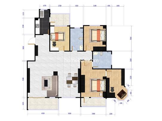 F5户型 3室2厅2卫