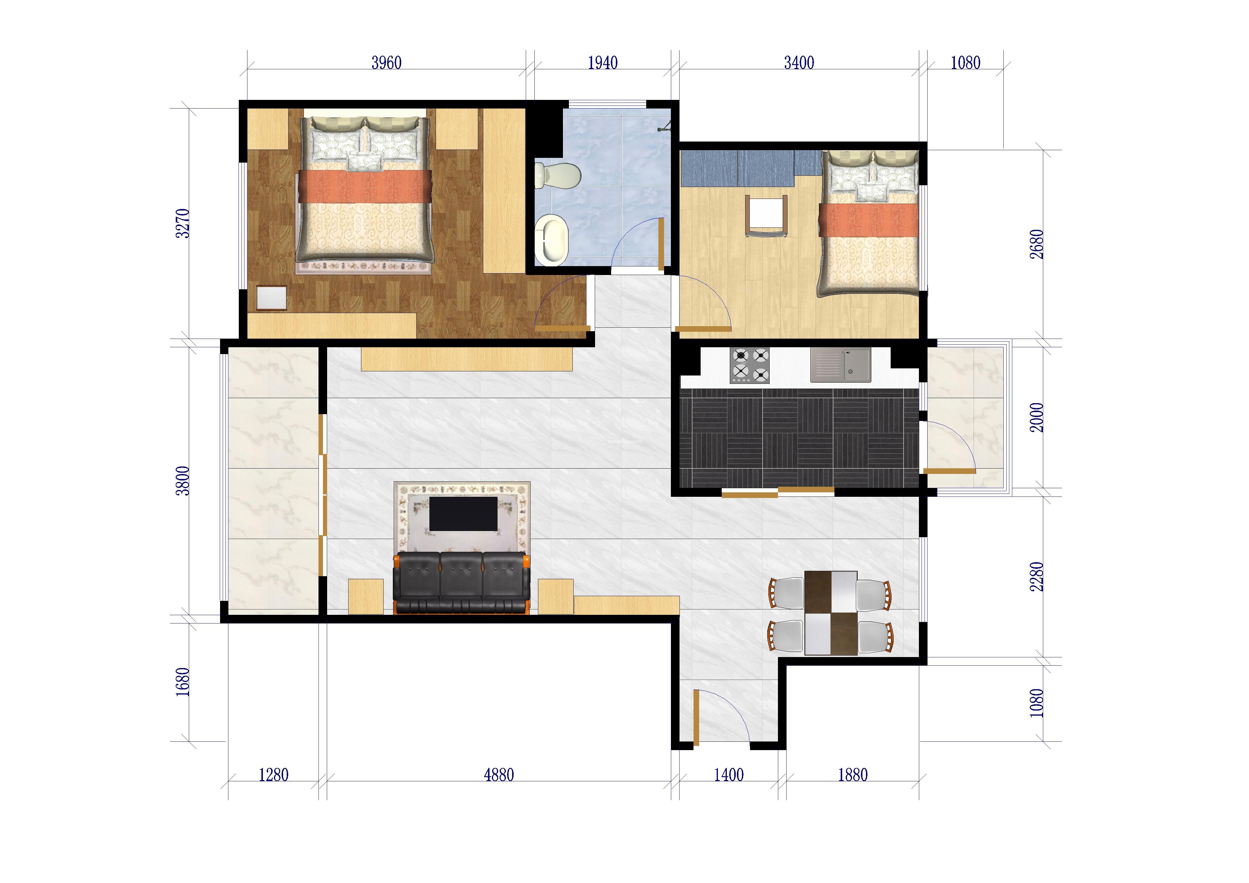 G4户型 2室2厅1卫