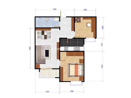 L户型2室1厅1卫1厨86.03�O