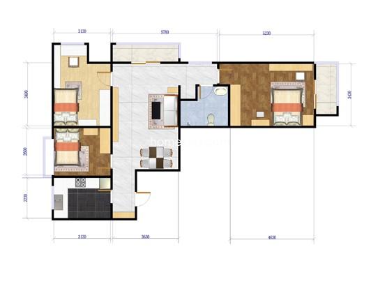N户型3室1厅1卫1厨105.47�O