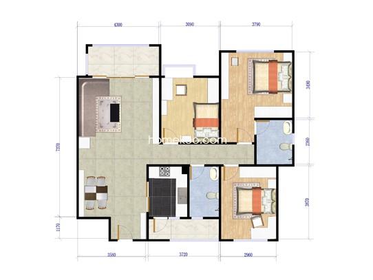 N1栋04单元3室2厅2卫1厨111.00�O