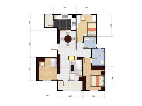 C5户型3室2厅2卫1厨 123�O