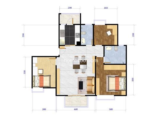 C户型3室2厅2卫 123�O