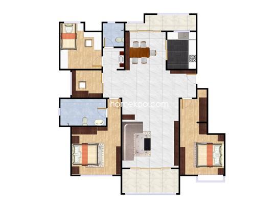 四楼边套户型图3室2厅2卫 140�O