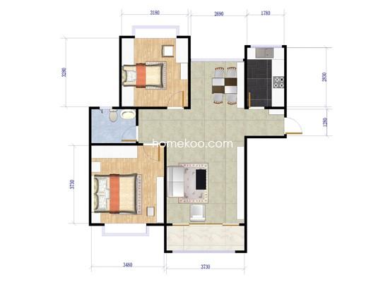 B1户型图2室2厅1卫1厨 89�O