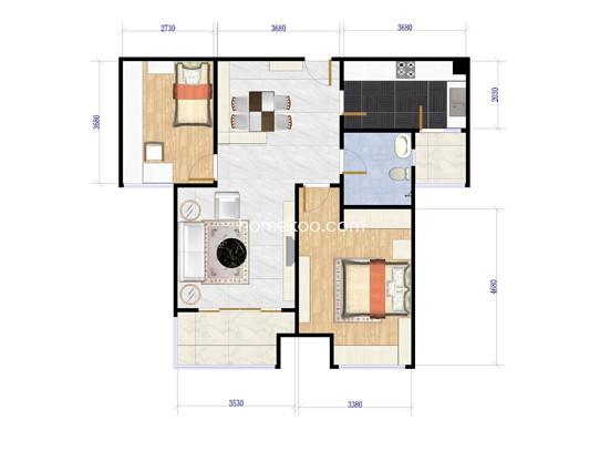 A户型1室2厅1卫 75�O