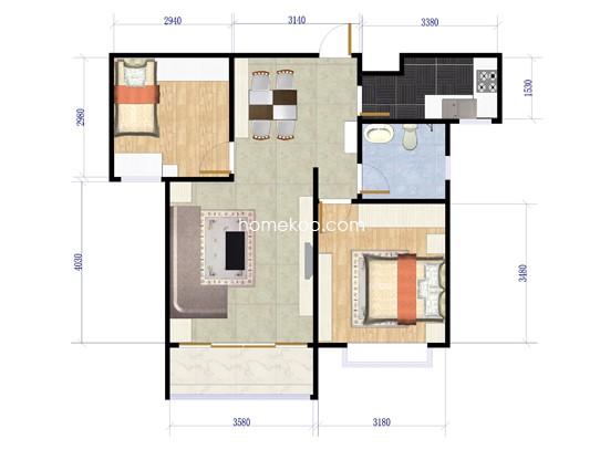 C2-3户型图2室2厅1卫1厨 90�O