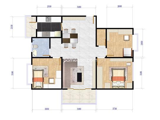 E1户型3室2厅2卫1厨 120�O
