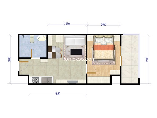 A3户型1室1厅1卫1厨 48�O