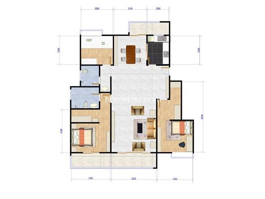 三楼中间套户型图3室2厅2卫 132�O