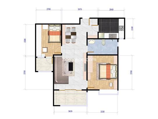 2室2厅1卫1厨 85�O