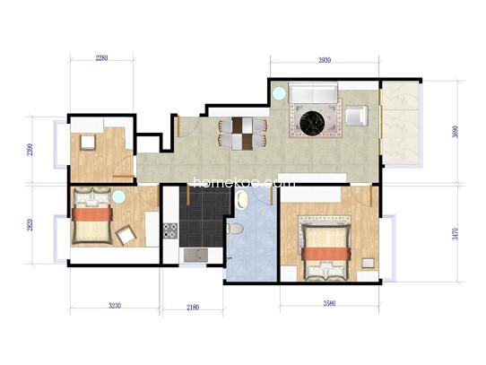 3室2厅1卫1厨 90�O