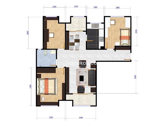 户型图二3室2厅1卫1厨 95�O