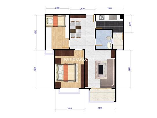 1-b户型图2室2厅1卫 90�O