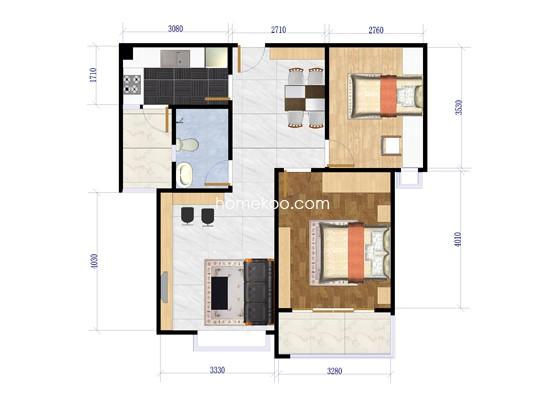 6B平面户型图2室2厅1卫1厨 87�O