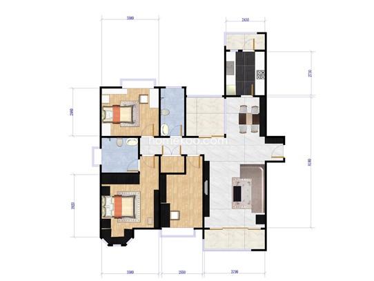 8#边套标准层户型图3室2厅2卫 145�O