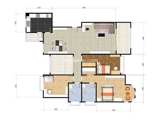 8A户型图3室2厅2卫 154�O