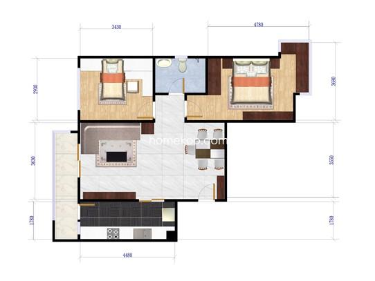 B1户型2室2厅1卫1厨 89�O