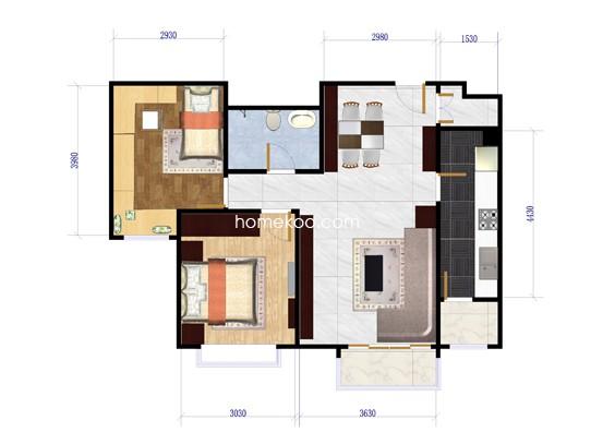 B4户型2室2厅1卫1厨 90�O