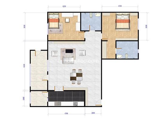 A1户型2室2厅2卫1厨 179.99�O