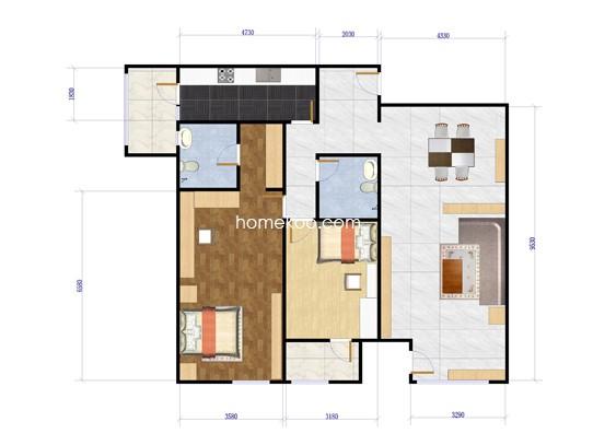 A2户型2室2厅2卫1厨 167.26�O