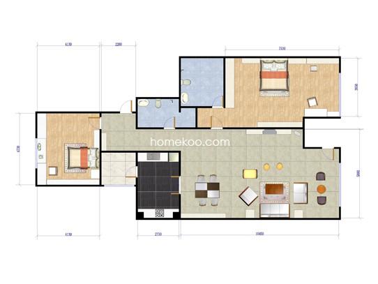 B1户型2室2厅2卫1厨 173.26�O