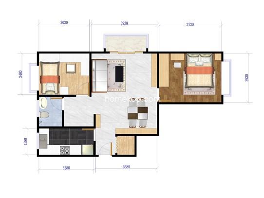 B6户型2室2厅1卫1厨 81�O