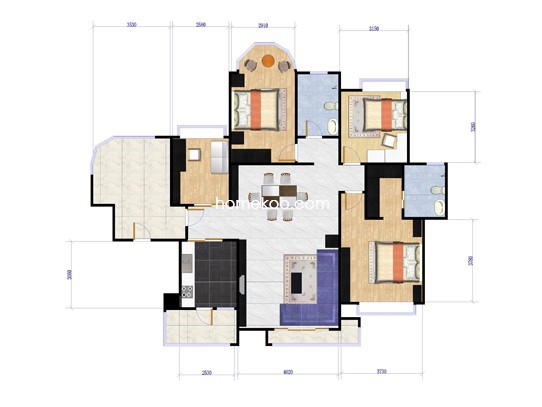 5座02、7座02单元4室2厅2卫142.48�O