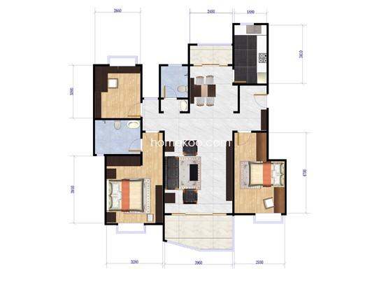 E户型3室2厅2卫 130�O