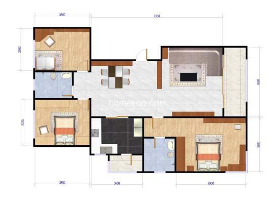 T5-C1户型3室2厅2卫1厨
