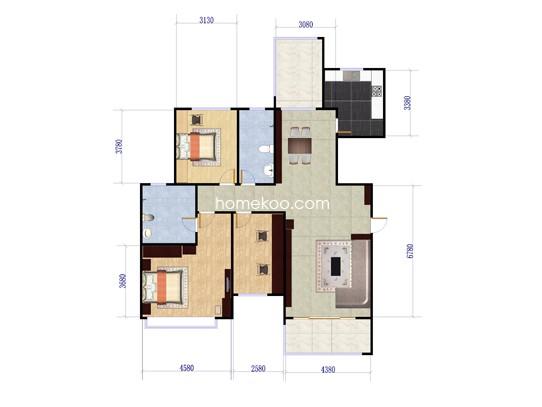 1-10栋C02户型3室2厅2卫1厨 135�O