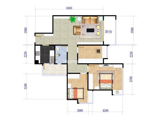 A户型3室2厅1卫1厨 96.33�O