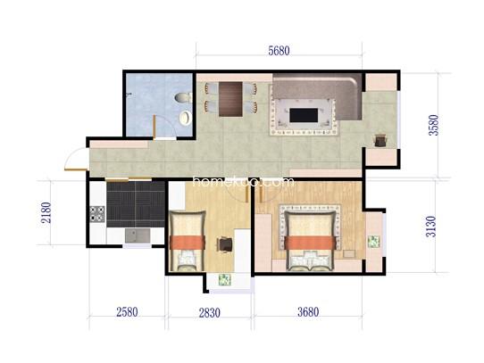 14、17号楼2室1厅1卫1厨 88.28�O