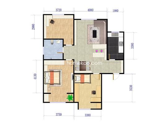 14、17号楼3室2厅1卫1厨 108.17�O