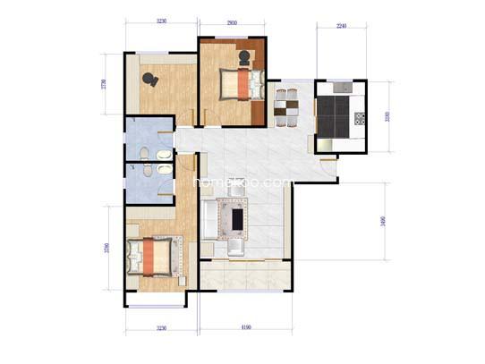 18号楼3室2厅2卫1厨 136.08�O