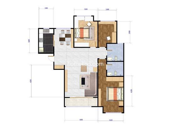 19号楼3室2厅2卫1厨 129.92�O