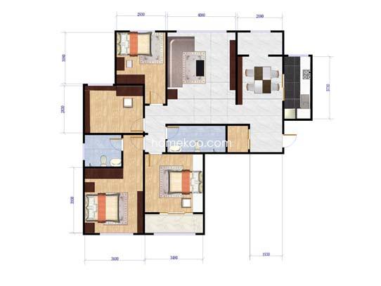 19号楼4室2厅2卫1厨 158.33�O