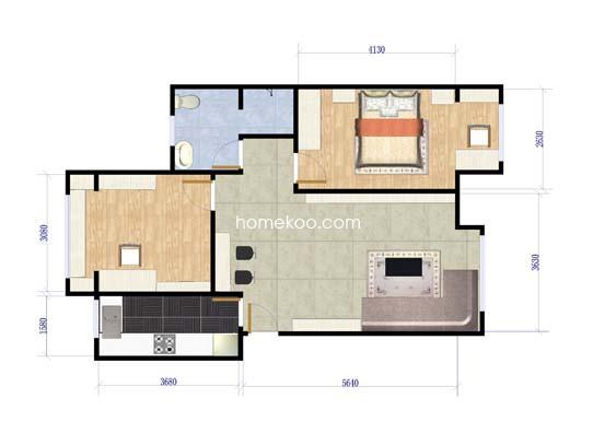 YA户型图2室2厅1卫1厨 91�O