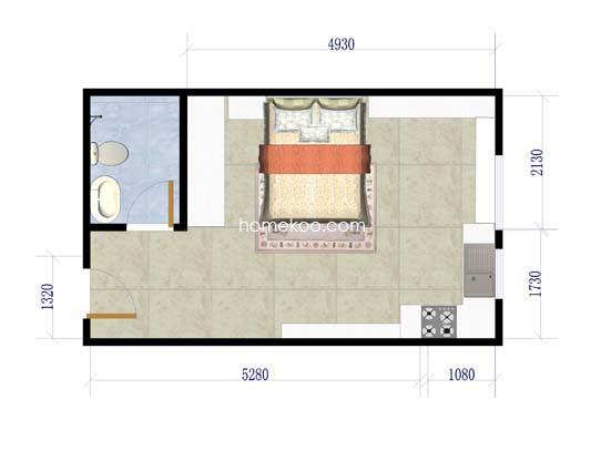 YC户型图1室1厅1卫1厨 36�O