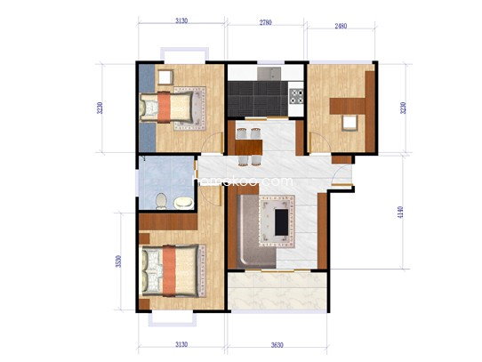 Aa型标准层3室2厅1卫 88.49�O