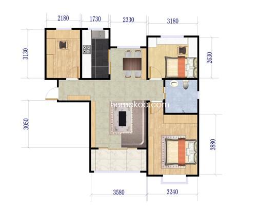 Ai户型3室2厅1卫 89.96�O