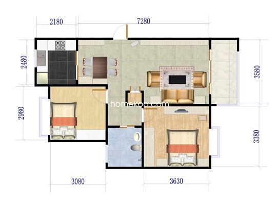 Aj型标准层2室2厅1卫 89.14�O