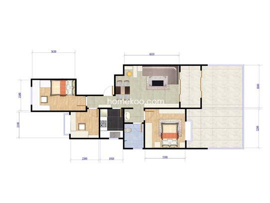A1户型3室2厅1卫 94�O