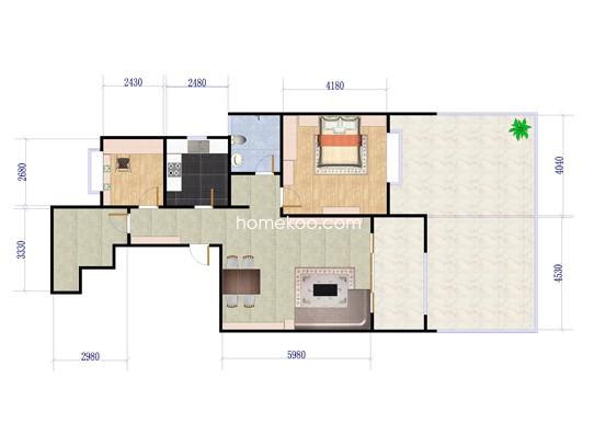 A2户型2室2厅1卫 84�O