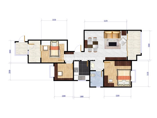 B1户型3室2厅1卫 97�O