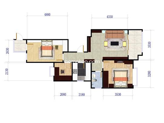 B2户型3室2厅1卫 95�O