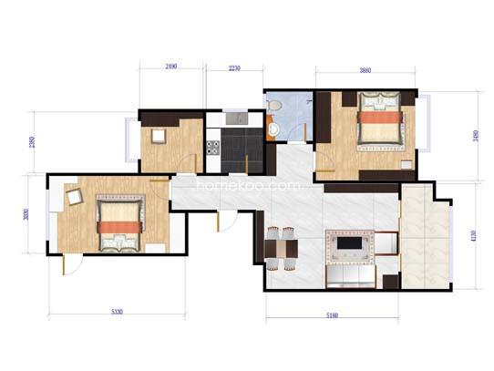 C2户型3室2厅1卫 95�O