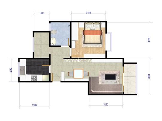 G户型1室2厅1卫1厨 73�O