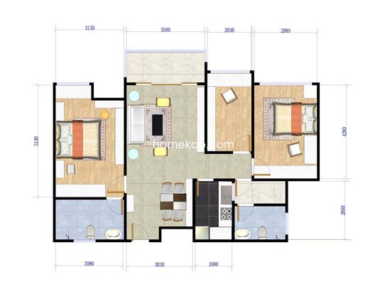 A座B-D_F-H、B座A-B_E型3房2厅2卫76�O