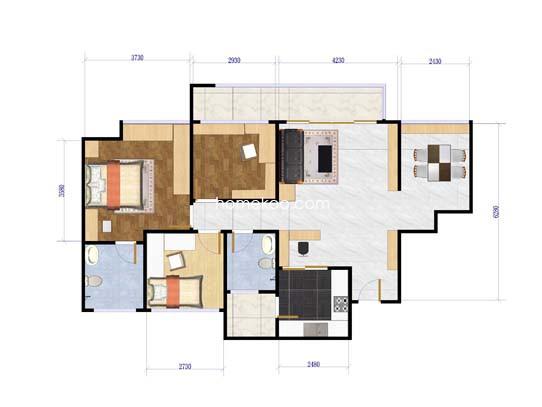 C1户型3室2厅2卫83�O